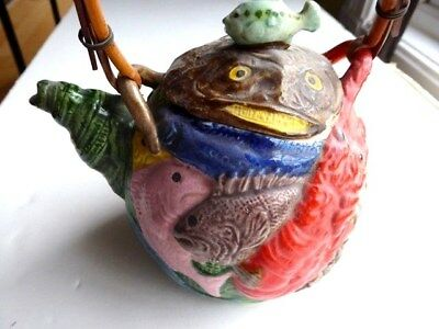 """Antique Japanese Banko glazed clay pottery Sealife Fish Lobster Crab 5.5"""" teapot"""