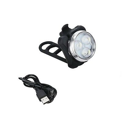 USB Rechargeable Cycling Bicycle Bike 3 LED Head Front White Clip Light Lamp