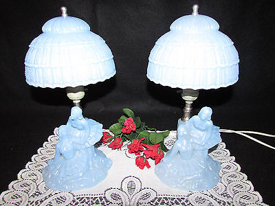 Pair Vtg L.e. Smith 1940's Light Blue Glass Ballerina Figurine Table Lamps 12""