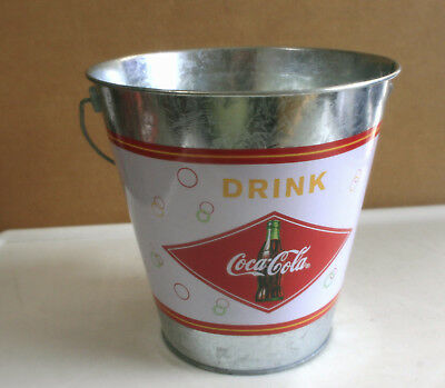 "Coca-Cola Metal Bucket With Plastic Liner, Drink Coca-Cola  7"" Tall Tapered"