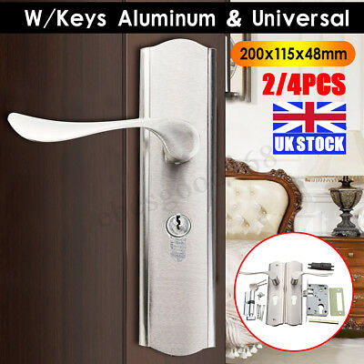 UK 2/4Pcs Aluminum Victorian Scroll Internal Lock Polished Chrome Handle + Keys