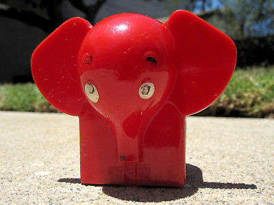Vintage RED Plastic Elephant Bank - Coins drop into the two ears! Cool!