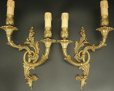 LARGE PAIR OF SCONCES ROCOCO STYLE - BRONZE - FRENCH ANTIQUE - 2 pairs available