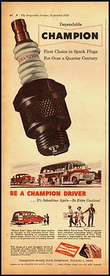 1950's Vintage ad for CHAMPION Spark Plugs  (103112)
