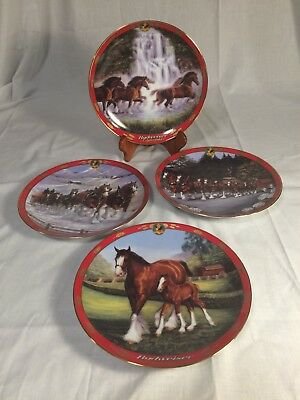 Budweiser Clydesdale Collector Plates 1998-2000 Lot of 4 Limited Edition Danbury