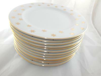 "Lot of 12 Fine China Dinner Plates  American Atelier Party Time 10.5"" Gold Stars"