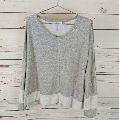 2143b1a2716a30 Elan Grey Cold Shoulder Sweater Cut Out Sleeves Contrast Band Women s