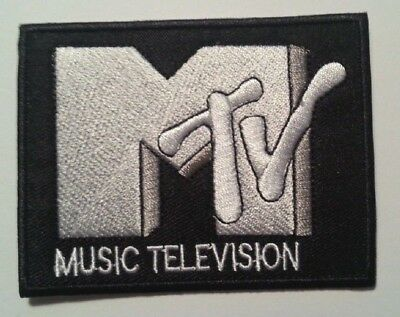 """MTV Music Television~Patch Embroidered Applique~3 3/8"""" x 2 5/8""""~Iron or Sew On"""
