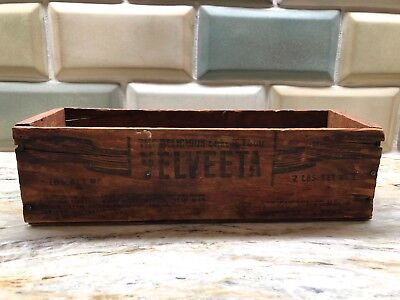 Vintage 2 lbs Kraft Velveeta Wood Cheese Decorative Box Rustic