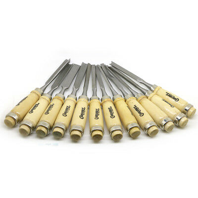 12pcs Mn-Steel Wood Carving Hand Chisel Tool Professional Woodworking Gouge Set