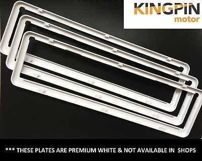 KINGPIN Slim Premium WHITE CLIP ON Car Number Plate Covers / Surround Slimline