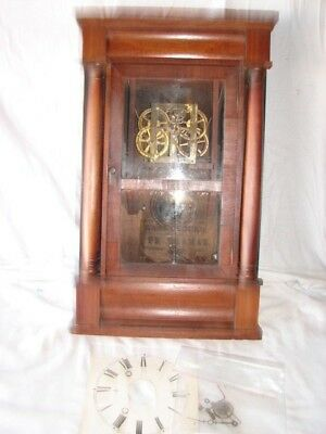 Vintage Large Seth Thomas Wall Clock Wood Case Parts Repair Restore Project