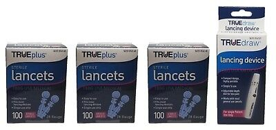 3x100 TRUEplus Diabetic Test Sterile Lancets 28 Gauge &WITH FREE LANCET DEVICE o
