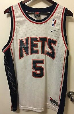 Vintage Nike New Jersey Nets Jason Kidd  5 NBA Size Large White Swingman NJ 8a8a64db3