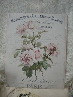 "Shabby Chic Vintage French / PARIS  Roses Plaque 8"" x 10"""