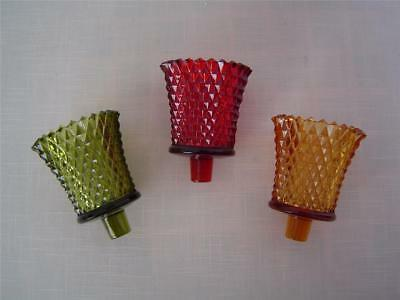 3 Vtg DIAMOND POINT Candle Holders Votive Cup Christmas Red Green Gold Home Int