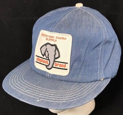 Vtg 80s Hat Snapback Patch Denim Cap K Brand Elephant Brand Fertilizer  Farmer ed656919f8c5