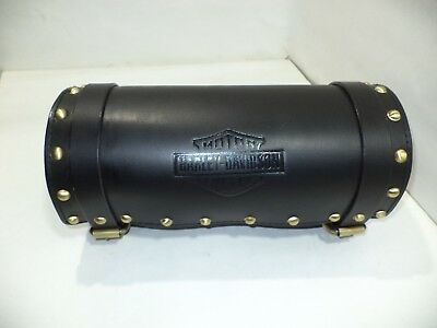 New black color pure leather tool bag with brass studs for Harley Davidson