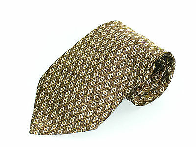 Mens Silk Neck Tie Hugo Boss  Golds Geometric Made In Italy Necktie