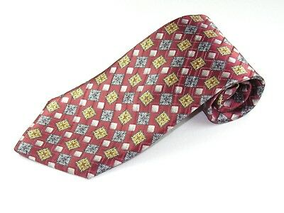 Mens  Silk Neck Tie By Countess Mara Red Gold Grey Made In Italy Necktie