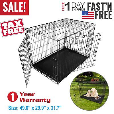 """48""""/42""""/36""""/30""""/24"""" Pet Kennel Cat Dog Folding Crate Wire Metal Cage W/Divider#"""
