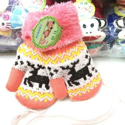 Christmas Kids Baby Girl Boy Winter Warm Gloves Thick Fur Knitted Mittens