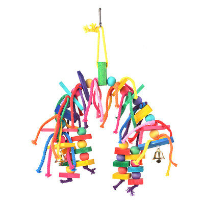 Colorful Bird Parrot Chewing Play Toy Hanging Decoration Wood Knot Block PS256