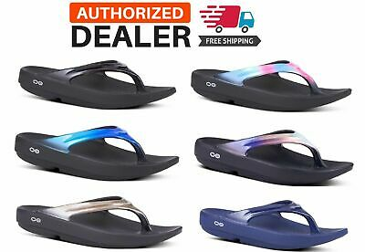 OOFOS OOLALA Sandal Women's Thong Flip Flop Recovery Black Bluejay Latte NEW