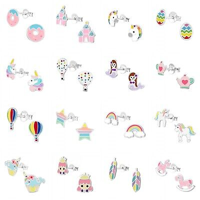 Girls Kids 925 Sterling Silver Stud Earrings Unicorn Rainbow Princess Feather