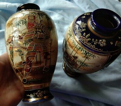Antique   pair of Japanese Moriage Satsuma Samurai vases, signed