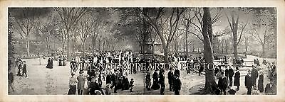 """1902 Central Park, New York City """"The Mall"""" Vintage Panoramic Photograph 20"""""""