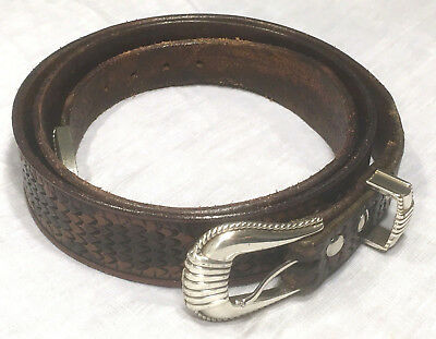 "Vintage Thick Leather Belt - Tooled Scale Pattern Size 47"" w Ivan Brand Buckle"