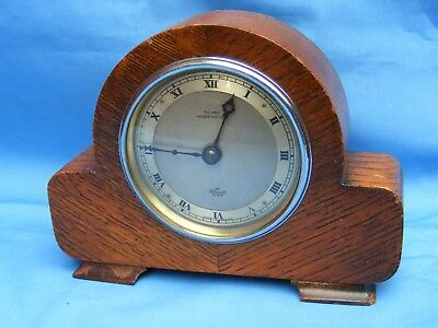 Antique 8 Day Wind Up Elliott Mantle Clock, Oak Case, Working.