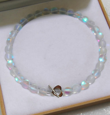 6mm 8mm White Gleamy Rainbow Moonstone Gemstone Round Bead Necklace 18'' AAA