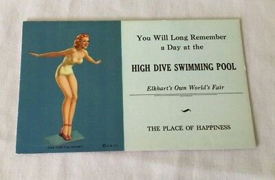 Pin-Up Girl Ink Blotter Advertising Card One For The Money 1940's Vintage