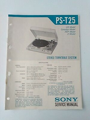 Ps-T25 Manuale Di Servizio Originale Sony Turntable Service Manual For Pst25