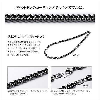 New Phiten titanium carbide chain necklace 45cm F/S from JAPAN