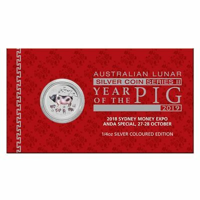 2018 Sydney Money Expo Year of the Pig 25c Colour 1/4oz Silver Brilliant Coin
