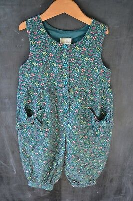 Laura Ashley Age 5 Dungarees Playsuit Vintage Floral Blue Corduroy Girl Children