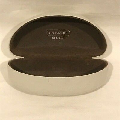 "Coach Extra Large White Clam Shell Glasses Case w/ Brown Lining - ""C"" Logo - VGC"