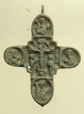 Ancient late Byzantine Bronze Cross Christ Very rare L=80x60x5mm Authentic !!!!