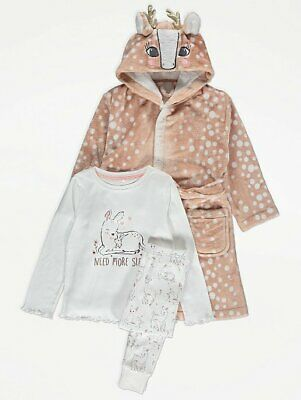 Girls Xmas Long Sleeve Deer Pyjamas Dressing Gown Robe Pj's 3 Piece Set 10/11 Yr