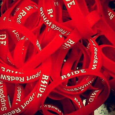 """Hells/Hell's Angels RSIDE - """"RSIDE / SUPPORT RED & WHITE"""" Wristband"""