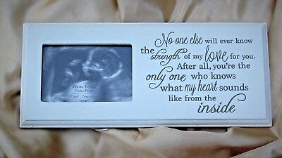 BABY SCAN WHITE WOOD PHOTOFRAME SENTIMENTAL VERSE 10x24cm FOR SCAN SIZE 6x9cm