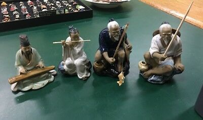 Set Of Four  Mud Men Chinese Figures , Fisherman , Music Man, Flute Man