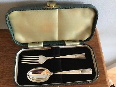 Vintage Solid Silver Child's Spoon And Fork In Box