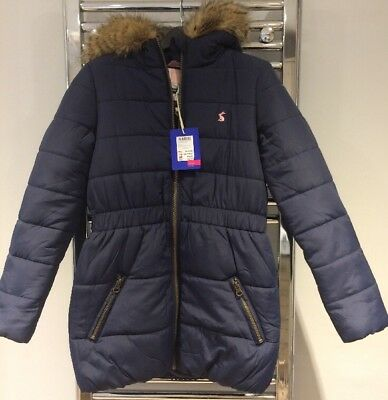834552abf0b1 JOULES GIRLS BELMONT Padded Quilted Hood Coat Jacket Navy Blue Fur ...
