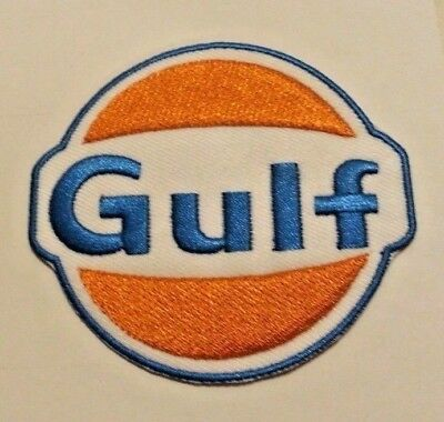 "Gulf Oil Patch~Car Auto Racing~3 1/8 x 2 7/8""~Embroidered~Iron Sew~Ships FREE"