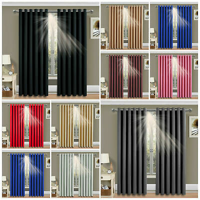 Thermal Blackout Curtains Ready Made Eyelet Ring Top & Energy Saving Tie Backs