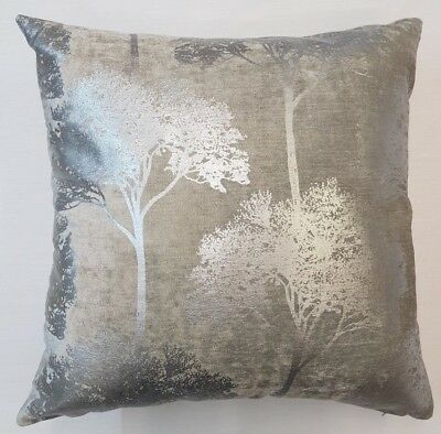 "Metallic Glittery Woodland Trees Pale Grey  Velvet 20"" Cushion Cover £8.99 Each"